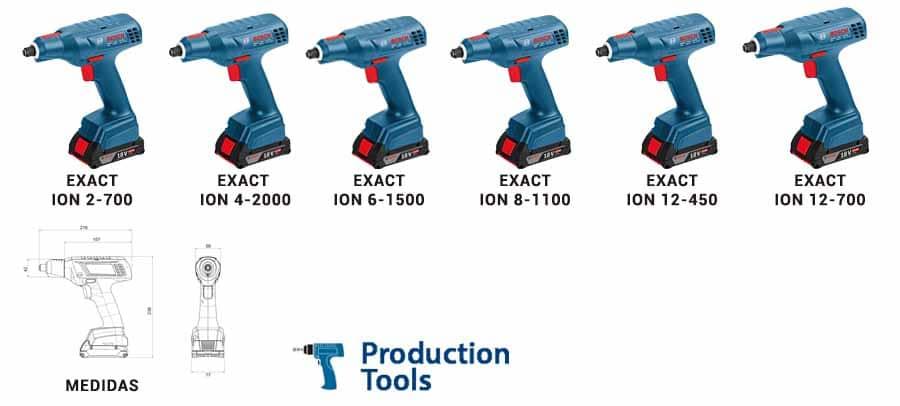modelos de atornilladores exact ion tipo pistola bosch