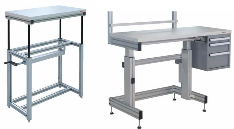 Mesas y puestos con regulación de altura